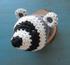 Raccoon Head Faux Taxidermy, miniature, crocheted woodland animal, mount, nursery, cabin decor, stuffed animal head, wall decor, rustic wood