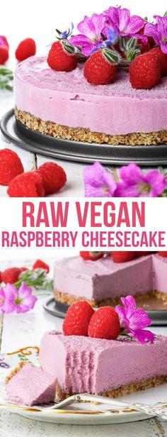 Raw Vegan Raspberry Cheesecake {gluten dairy egg soy peanut & refined sugar free vegan paleo} - This raw vegan cheesecake is the perfect summer dessert: creamy refreshing and perfectly balanced due to the slight tartness of the raspberries. Cheesecake Sans Lactose, Raw Vegan Cheesecake, Raw Vegan Cake, Dairy Free Cheesecake, Raw Cake, Vegan Sugar, Healthy Cheesecake Recipes, Vegan Raw, Healthy Recipes