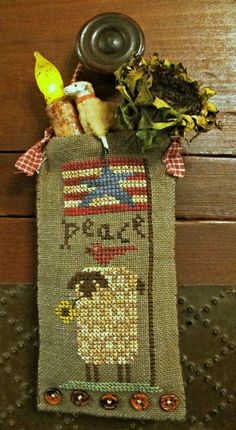 Peace+To+Ewe+Hanging+Pouch-Cross+Stitch+by+HomespunElegance