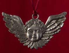 Seagull Pewter Hanging Ornament -- Cherub/Cupid/Angel, undated. Hanging Ornaments, Christmas Ornaments, Cherub, Cupid, Pewter, Lion Sculpture, Angel, Statue, Holiday Decor