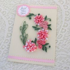 Quilling Greeting Card Paper Quilled  Pink by EnchantedQuilling, $6.50