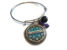 Imagine Bangle Bracelet, Affirmation Bracelet, Mandala Essential Oil Bracelet, Spiritual Lava Rock Diffuser Charm Bracelet, Aromatherapy