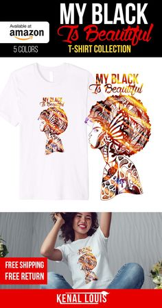 Looking for a creative and unique My Black Is Beautiful tshirt? Look no further, you will love these My Black Is Beautiful t-shirt designs by visual artist Kenal Louis. The artworks is part of an ongoing Afrocentric art series. T-shirts NOW AVAILABLE on Amazon in 5 colors and Teepublic. The Best My Black Is Beautiful gift ideas. black girl gift ideas and more #africanamericanart #blacktshirts #blackisbeautiful #myblackisbeautiful #blackartwork #blackart #afroart Cute Tshirts, Cool T Shirts, Afrocentric Clothing, Unique T Shirt Design, Black Artwork, Art Series, Black Artists, My Black Is Beautiful, Black Models