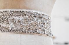 Beautifully beaded bridal sash.  Do it custom! this one by MJbridal