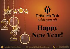Tirtha Infotech wishes you a very happy new year🎉🥳🤩. Mobile App Development Companies, Software Development, Online Marketing, Digital Marketing, Marketing Consultant, Best Web, Design Development, Service Design, Internet