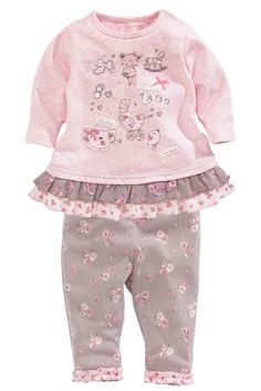 Buy Pink Cat Frill Tunic And Ditsy Leggings Two Piece Set (0-18mths) from the Next UK online shop