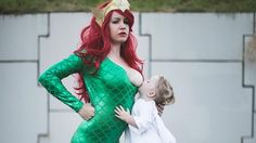 Breastfeeding cosplayer stands up for every superhero mom  Photo credit: Kristina Childs Photography Geek mom's epic breastfeeding photo has an incredible backstory