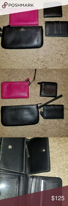 Authentic Coach Wallets & Wristlets Lot Awesome set of 4 authentic Coach Wallets and wristlets. They are in great condition. Like new. Light Wear. Marks on the black wallets.. That's with a flash. It's not anything major. These are awesome items Coach Bags Wallets