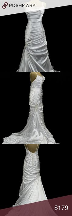 """Maggie Sottero Sample wedding dress """"Eve"""" Spaghetti strap ruched trumpet skirt. Color white. Missing satin button covers. Not a used dress tried on in store only. Jasmine Bridal Dresses Wedding"""