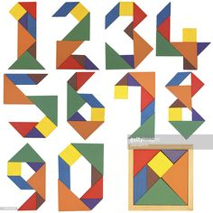 View top-quality stock photos of Numbers Set Tangram. Find premium, high-resolution stock photography at Getty Images. Tangram Puzzles, Math Boards, Numbers For Kids, Math Work, Paper Crafts Origami, Stock Foto, Bottle Painting, Sensory Activities, Diy Home Crafts