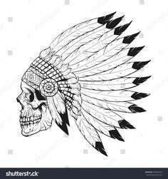 Vector monochrome illustration of stylized skull wearing native American war bonnet. Design for T-shirt or poster. Skull Stencil, Tattoo Stencils, Skull Art, Indian Skull Tattoos, Ghost Rider Wallpaper, Japan Tattoo Design, Scary Drawings, Skull Coloring Pages, Native American Tattoos