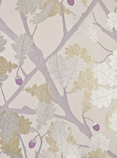 Feuille de Chene Wallpaper Pale lavender wallpaper with metallic silver and gilver oak tree illustration with purple acorn.