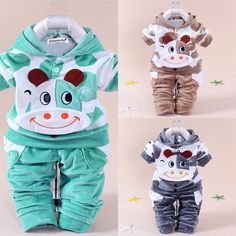 Staron  2pcs Baby Hoodie Rose Striped Clothes Set Boys Hooded Tops+Pants Infant Outfits