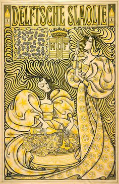 "Jan Toorop, Delft Salad Oil, lithograph, 1894. Jan Toorop, one of the leading artists of the period, was of Indonesian parentage; perhaps it is not surprising that the sinuous women in his notorious poster for salad oil produced from Indonesian peanuts resemble Javanese shadow puppets. This eccentric poster was such a shocker that the Art Nouveau style in Holland was often referred to as the ""Salad Oil"" style."