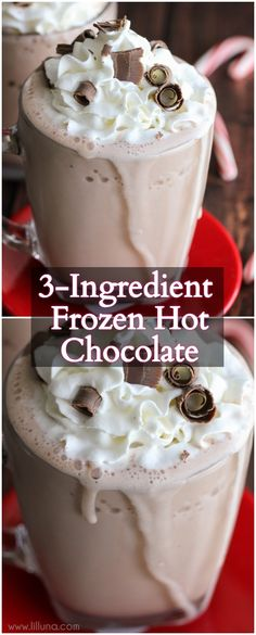 3-Ingredient Frozen Hot Chocolate - this drink takes a minute to make and is SO delicious!! All you need is some milk, hot cocoa packets, and ice and of course some cool whip and chocolate curls for topping!
