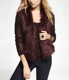 wine colored faux fur vest