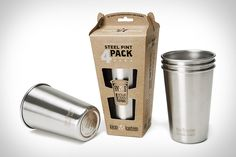 Red Solo cups are great for Toby Keith concerts, but not so great for the environment. Klean Kanteen Stainless Steel Pint Cups are. Made from 18/8 food-grade stainless steel, they're reusable, durable, and dishwasher safe — and you also don't have to worry about anyone commenting on your lack of manhood due to your glass goblet.