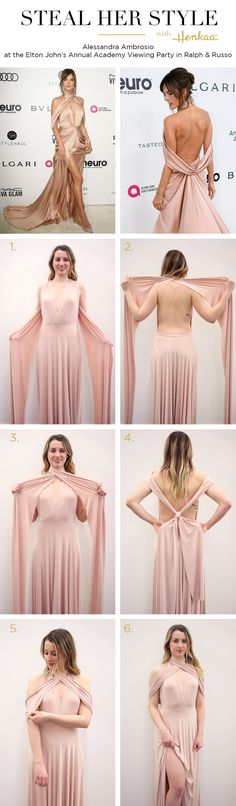 Check out how we recreated Alessandras look from the 2017 Oscar viewing party using convertible fashion!