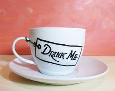 Alice in Wonderland drink me white teacup with saucer -  cartoon mug, hand painted mug, coffee mug, tea party gift
