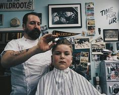 boy getting slicked at the barbershop Barber Chair, Fall Hair, Barber Shop, Buzz Cuts, Hair Cuts, Traditional, Barbers, Boys, Men