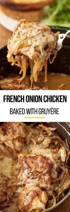 Braised French Onion Chicken with Gruyere Cheese Recipe. Bake this DELICIOUS comfort food casserole in the oven. Recipes like this are perfect for dinners and meals with rice as a quick and easy side dish. Your family will love this weeknight or weeknight supper! Comfort food like this is packed with chicken thighs, garlic, mustard, caramelized onions and lots and lots of cheese. Pretty healthy wholesome ingredients if you ask us!