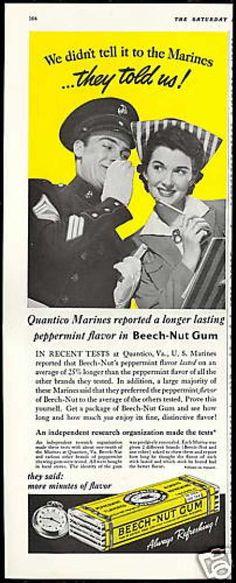 Beech-Nut Gum U.S Marine Quantico VA Virginia (1941)