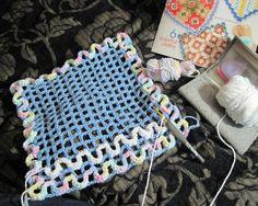 My Sq in progress Crochet Scrubbies, Crochet Potholders, Crochet Squares, Crochet Kitchen, Crochet Home, Easy Crochet, Crochet Rugs, Wiggly Crochet Patterns, Knitting Patterns