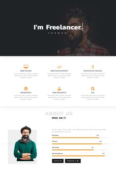 Romio Personal Landing Page Template - Landing Pages - Create a landing pages with drag and drop. Easily make your landing page in 3 minutes. - Romio Personal Landing Page Template Web Design Websites, Web Design Quotes, Web Design Tutorials, Web Design Trends, Ux Design, Design Color, Flat Design, Website Design Inspiration, Landing Page Inspiration