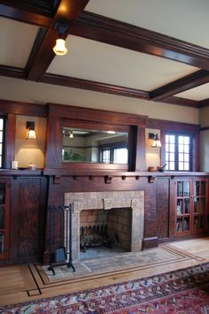 living room craftsman with exposed hinges