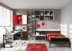 Chambre enfant complète contemporaine CANADA, coloris blanc, marron, rouge