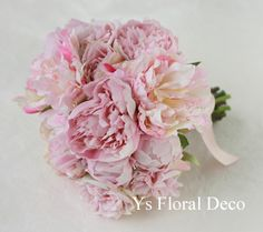 淡いピンクのシャクヤクブーケ アーティフィシャルフラワー @二次会&イタリア旅行 ys floral deco