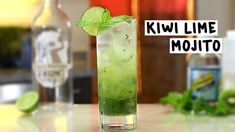 KIWI LIME MOJITO 2 oz. (60ml) Rum 1 1/2 oz. (45ml) Simple Syrup  Splash Club Soda 3 Lime Wedges Mint Leaves Kiwis Ice Garnish: Lime Wheel/Mint Sprig  PREPARATION 1. Add lime wedges, kiwi slices and simple syrup, to base of tall glass and muddle well. Drop in mint leaves and muddle once more lightly.  2. Add ice to glass and pour over rum. Stir well. 3. Top with club soda and garnish with a lime wheel and a mint sprig.  DRINK RESPONSIBLY!
