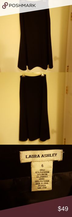 Laura Ashley Black Skirt Excellent condition! Fully lined Side recessed zipper Formal length Laura Ashley Skirts