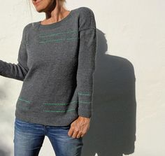 This easy-to-knit sweater is worked from the top down without any seams.