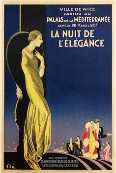 La nuit de l'#élégance - Palais de la Méditerranée, #Nice #vintage poster #art deco www.posterimage.it