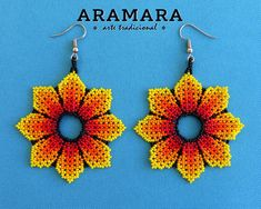 Your place to buy and sell all things handmade Flower Earrings, Beaded Earrings, Earrings Handmade, Beaded Jewelry Patterns, Beading Patterns, Native American Earrings, Mexican Jewelry, Halloween Earrings, Loom Beading