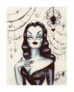 A fantastical art print on Archival glossy Crystal Fuji photo paper featuring a glamorous Vampira in front of a glistening spider web. A black widow