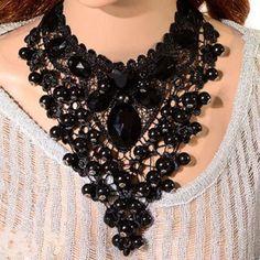 Women Black Lace Collar Necklace Bib Charm Choker Beads Cluster Pendant Fashion #AustinStore2002us #Bib #EveningPartyWeddingBirthdayGiftFestival