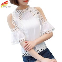 Blusas Plus size Women Blouses 2017 Summer Tops Fashion Shirt Women White Lace Blouse Hollow Out Chiffon blouse Off Shoulder Top(China (Mainland)) Shoulder Off, Cold Shoulder, White Lace Blouse, Modelos Plus Size, White Embroidery, Mode Style, Lace Tops, Blouse Designs, Blouses For Women