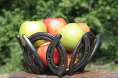 horse shoe bowl centerpiece by DARKHORSEIRONWORKS on Etsy, $40.00