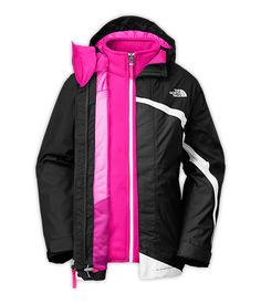 The North FaceGIRLS' MOUNTAIN VIEW TRICLIMATE® JACKET When it comes to keeping covered and protected during winter snowsports, there's nothing more versatile than a three-in-one jacket. Designed with the same technical fabrics as the adult counterpart, pairs a waterproof, breathable, fully seam sealed HyVent® 2L exterior jacket (with hood) with an interior, removable, fleece jacket. She'll bundle up in both jackets when it's wet and cold, or wear each as separates as the weather permits.