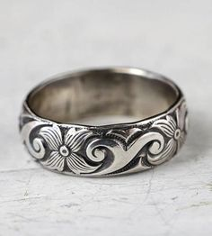 Floral Art Deco Sterling Silver Band | Elegant swirls and art deco flowers adorn this charming sterli... | Rings