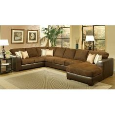 Chocolate sectional this is perfect with mix of leather and micro fiber
