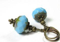 Azure Blue Czech Glass Earrings from jewelrybyNaLa ... https://www.etsy.com/listing/162930059/vintage-style-sky-blue-czech-glass #blue #jewelry #earrings