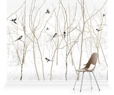 tree and bird wallpaper mural - Surface View