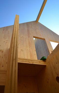 A single family house under construction with #glulam & #crosslaminatedtimber #CLT