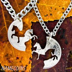 Horse Jewelry, Western Cowboy and Cowgirl Necklaces, Interlocking set, Prancing and Rearing Horses, hand cut coins