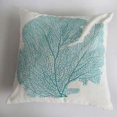 aqua blue coral pillow.  sea themed pillow by Comfyheavenpillows