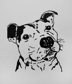 A truly contented Staffordshire Bull Terrier. Open edition linocut print in black. Printed using vegetable oil based inks on acid free paper.