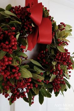 This collection of beautiful Christmas wreaths will make you want to walk through your house to see where you can add one more wreath! Decoration Christmas, Noel Christmas, Green Christmas, Winter Christmas, All Things Christmas, Christmas Signs, Christmas Colors, Holiday Decorating, Rustic Christmas